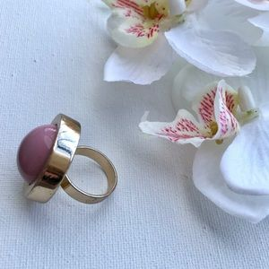 Gold Statement Ring with Mauve Pink Ceramic
